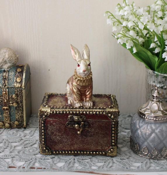 バロックラビットボックスS ウサギの置物 アンティーク風 雑貨 シャビーシック フレンチカントリー 輸入雑貨 アンティーク 雑貨