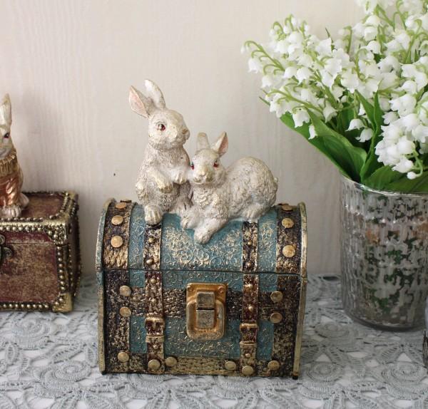 バロックラビットボックスL ウサギの置物 アンティーク風 雑貨 シャビーシック フレンチカントリー 輸入雑貨 アンティーク 雑貨