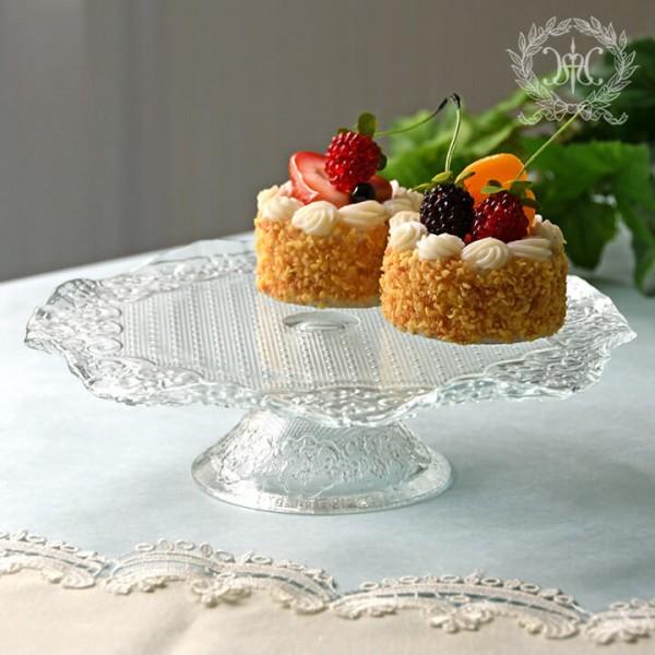 おしゃれ ガラス食器 オフィーリア ケーキスタンド  ケーキプレート アンティーク 食器 洋食器 ガラス製 トルコ製 アンティー