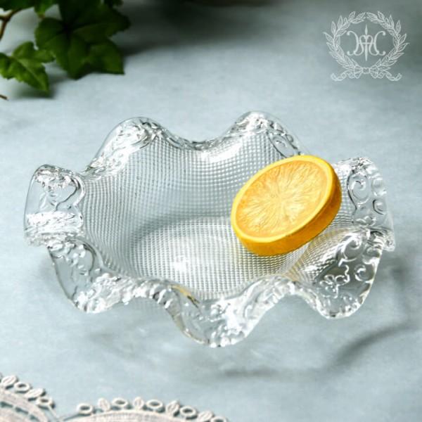 おしゃれ ガラス食器 オフィーリア フリルプレートS  フツールプレート 小鉢 アンティーク 食器 洋食器 ガラス製 トルコ製 ア