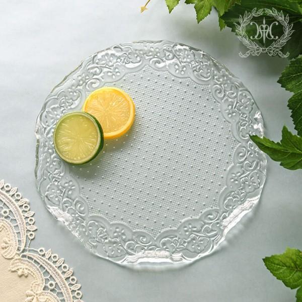 おしゃれ ガラス食器 オフィーリア フリルプレートM  フツールプレート ケーキプレート ケーキ皿  プレート 皿 アンティーク