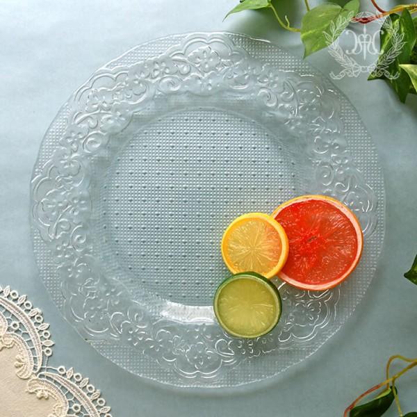 おしゃれ ガラス食器 オフィーリア フリルプレートL ディナープレート ケーキ皿 ケーキプレート 皿 プレート アンティーク 食