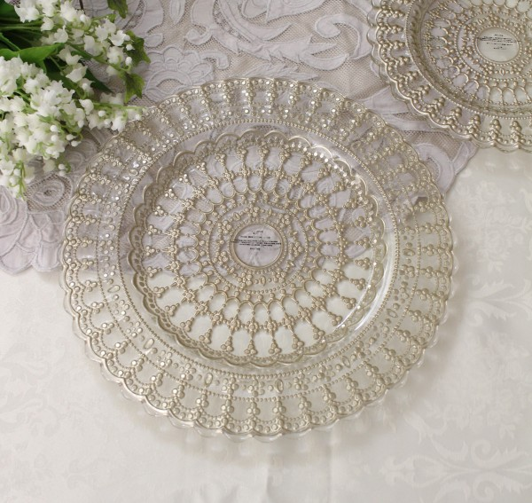 おしゃれ ガラス食器 レース・ディナープレート ディナー皿 アンティーク 食器 洋食器 ガラス製 トルコ製 アンティーク風 雑貨