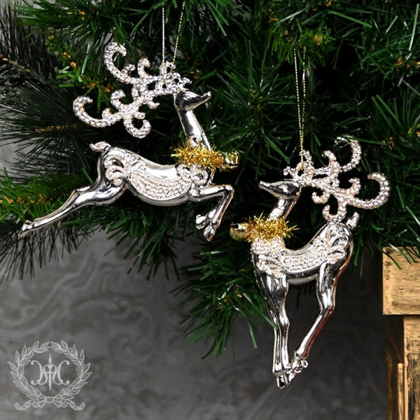 ツリーオーナメント(ベルトナカイ・ゴールド2種セット8278)クリスマスツリー オブジェ クリスマス ディスプレイ シャビー