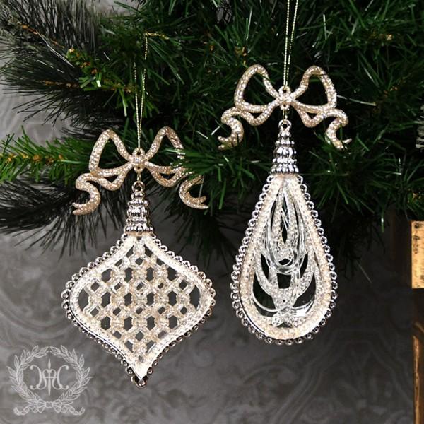 ツリーオーナメント(リボンドロップ・ゴールド2種セット8269)クリスマスツリー オブジェ クリスマス ディスプレイ シャビ
