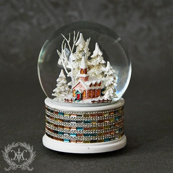 スノードーム・オルゴール(チャーチジュエルパステル8247)きよしこの夜 クリスマスツリー オブジェ クリスマス ディスプレイ