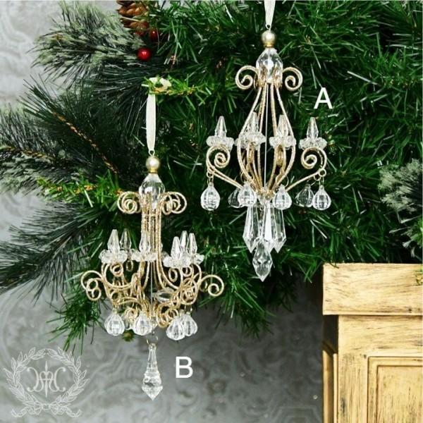 ツリーオーナメント(ワイヤーシャンデリア2種あり・8220)クリスマスツリー オブジェ クリスマス ディスプレイ シャビーシ