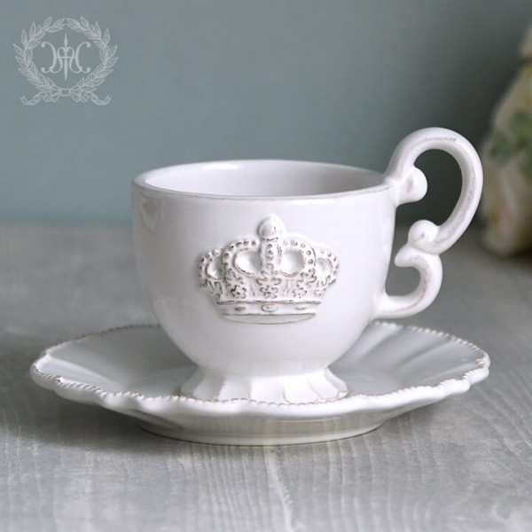 フレンチカントリーな王冠モチーフシリーズ  ロイヤルクラウン・カップ&ソーサー C&S アンティーク 食器 アンティーク風 フレン