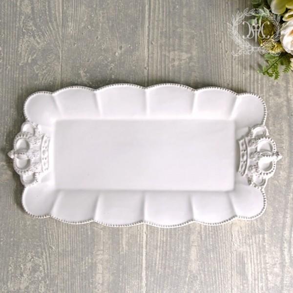 フレンチカントリーな王冠モチーフシリーズ  ロイヤルクラウン・レクト・横長 ケーキ皿 長方形 アンティーク風 アンティーク 陶