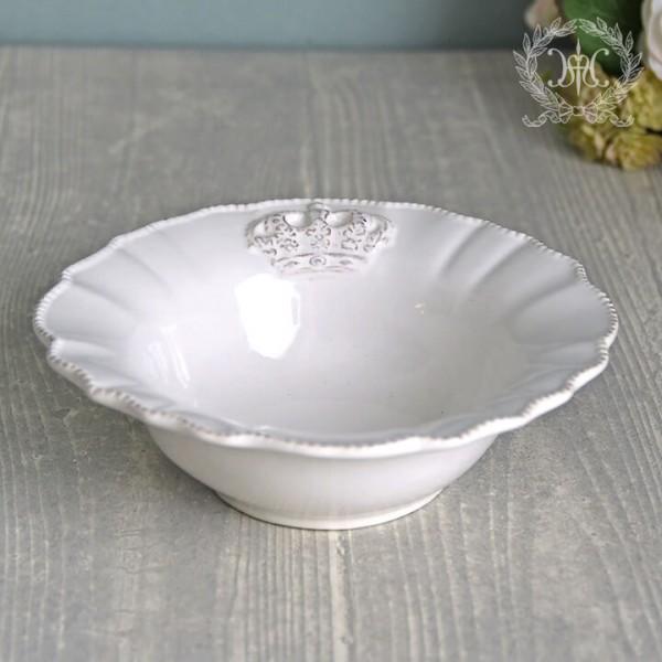 フレンチカントリーな王冠モチーフシリーズ  ロイヤルクラウン ボウル ラウンド サラダボウル スープ皿 フレンチ食器 陶器 白い
