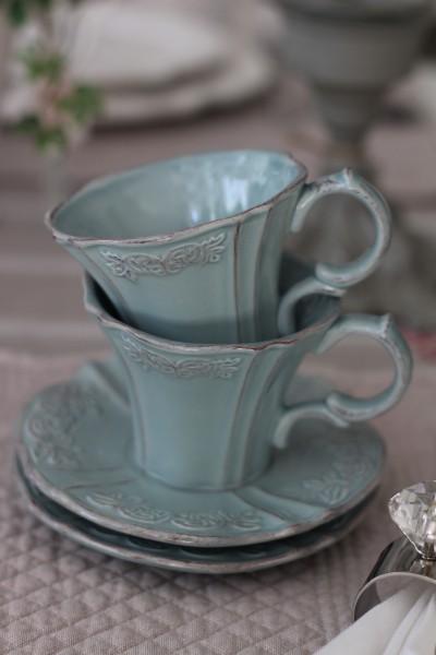 アンティーク 食器 雑貨 アンティーク風 ブルーグレーの食器 カップ&ソーサー C&S カフェ食器 陶器 姫系 フレンチカントリー fr