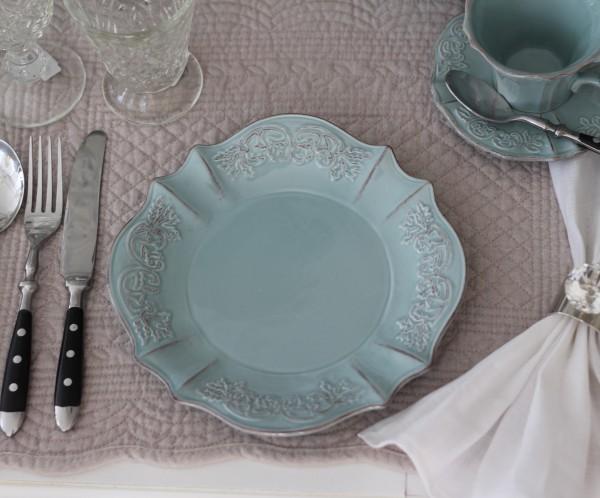 アンティーク風 french chicシリーズ ケーキプレート ケーキ皿 ブルーグレー フレンチカントリー フレンチ食器 フランス 陶器 カ