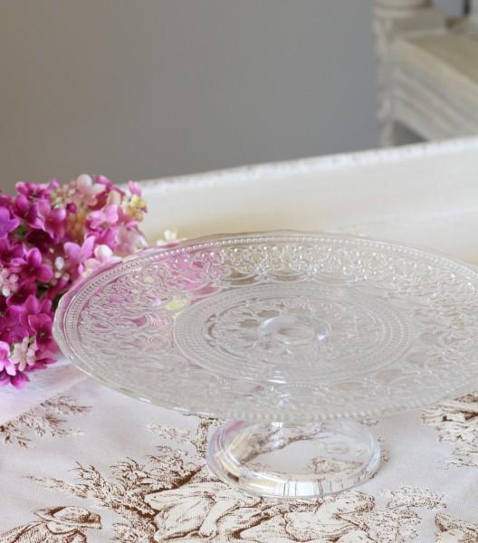 流行りのモロッコテイスト♪ アラベスク・ケーキスタンドL (クリアー) ケーキプレート アンティーク 食器 洋食器 ガラス製 トル
