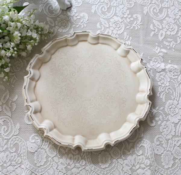 アンティークホワイト ラウンドトレイ フレンチトレー(8359) ディスプレイトレー ホワイト アンティーク風 アンティーク 雑貨