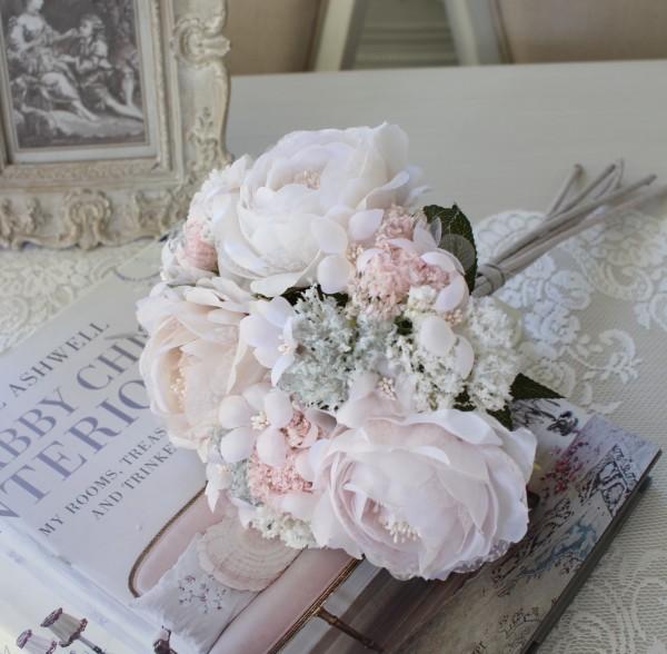 造花 ブーケ ホワイト(8401)アーティフィシャルフラワー シルクフラワー アンティーク風 アンティーク 雑貨 姫系 輸入雑貨 シ