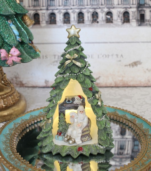 ツリードームLEDオブジェ ツリー 8508 クリスマス 飾り 置物 オブジェ ヨーロピアン アンティーク風 アンティーク 雑貨 姫系