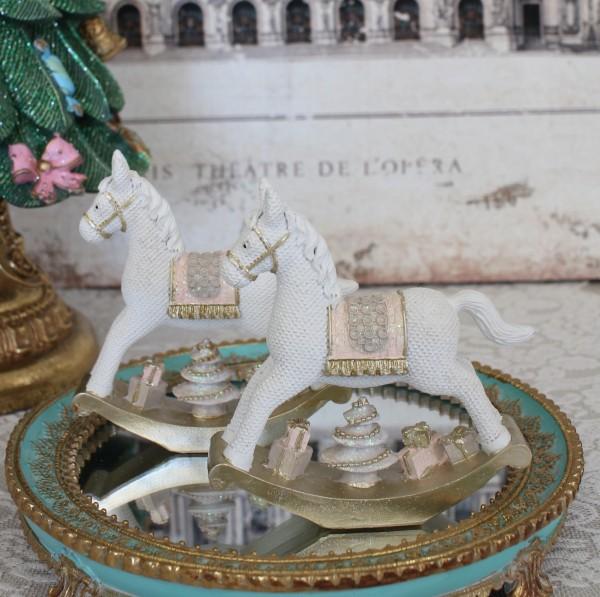 ホワイトロッキングホースオブジェ 木馬 8510 クリスマス 飾り 置物 オブジェ ヨーロピアン アンティーク風 アンティーク 雑貨