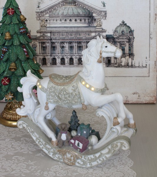 LED ホワイト ロッキングホース オブジェ 木馬 8534 クリスマス 飾り 置物 オブジェ ヨーロピアン アンティーク風 アンティーク