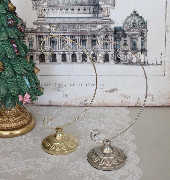 ジュエル オーナメントスタンド Lサイズ ゴールド/シルバー クリスマス 飾り 置物 オブジェ ヨーロピアン アンティーク風 アンテ