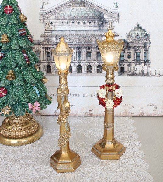 ゴールドLED ストリートランプ リース8491 ガーランド8490 クリスマス 飾り 置物 オブジェ ヨーロピアン アンティーク風 アンテ