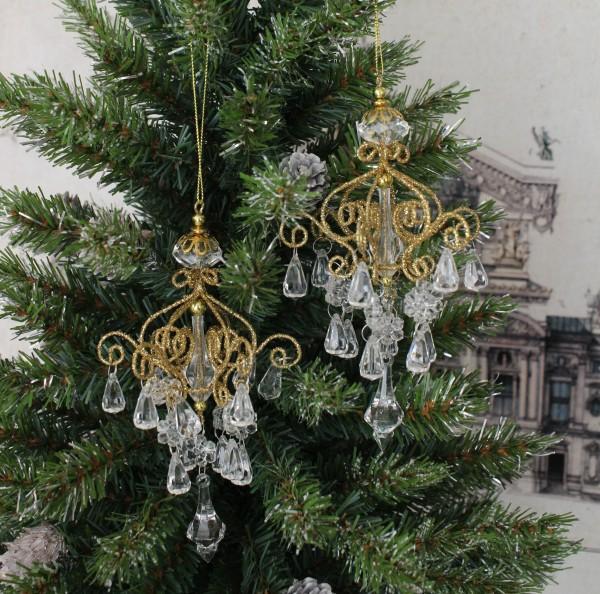 ゴールドミニ シャンデリアオーナメント 8678 オーナメント クリスマス 飾り 置物 オブジェ ヨーロピアン アンティーク風 アンテ