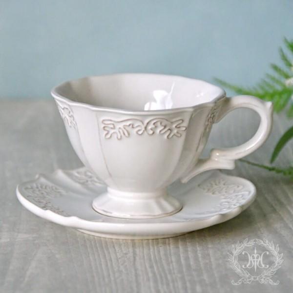 アンティーク 食器 雑貨 アンティーク風 (ホワイトトリアノン)カップ&ソーサー C&S 白い食器 カフェ食器 陶器 姫系 フレンチ