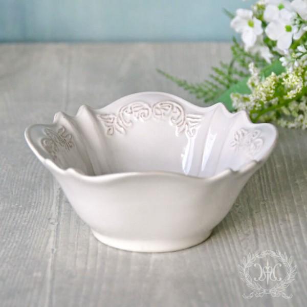 アンティーク 食器 雑貨 アンティーク風 (ホワイトトリアノン) ボウル 小鉢 白い食器 カフェ食器 陶器 姫系 フレンチカントリ