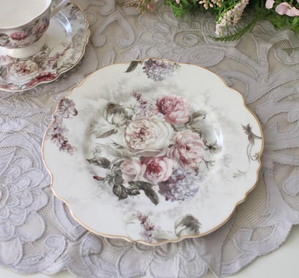 アンティーク 食器 雑貨 アンティーク風 (ローズブーケ1384)ケーキプレート デザート皿 薔薇柄 カフェ食器 陶器 姫系 フレンチ