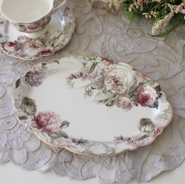 アンティーク 食器 雑貨 アンティーク風 (ローズブーケ1385)オーバルプレート デザート皿 ケーキプレート 薔薇柄 カフェ食器