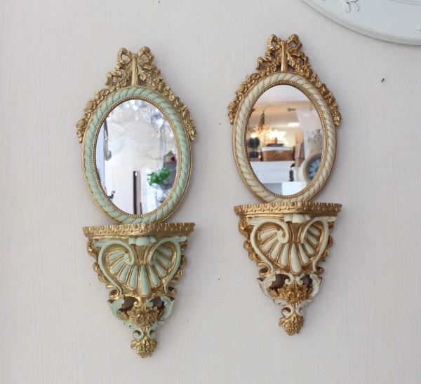 テーラーウォールミラー (アイボリー8753 ミント8754) コンソールミラー ウォールミラー 壁掛け 鏡  楕円ミラー ロココ調 姫系