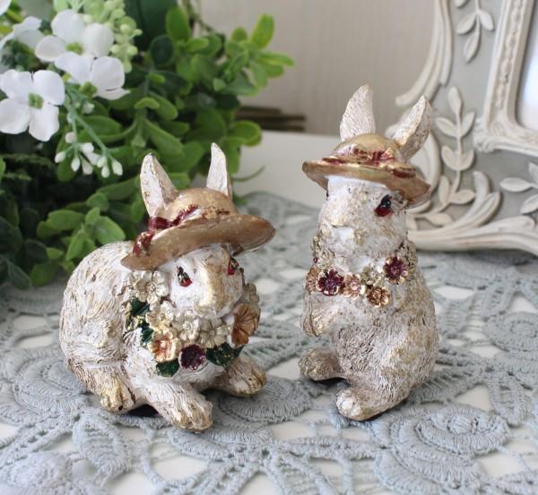 可愛いフラワーラビットオブジェ2種セット 8746 ウサギ ラビット 可愛い おしゃれ アンティーク風 雑貨 輸入雑貨 antique shabb