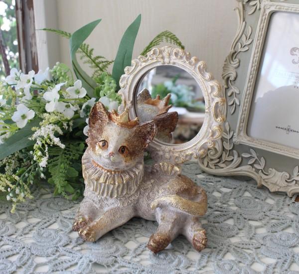バロックキャットミラー 8741 猫 キャット 可愛い おしゃれ アンティーク風 雑貨 輸入雑貨 antique shabby chic かわいい ロココ