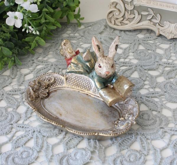 ブックラビットミニトレー 8745 ウサギ トレイ 小物入れ 可愛い おしゃれ アンティーク風 雑貨 輸入雑貨 antique shabby chic か