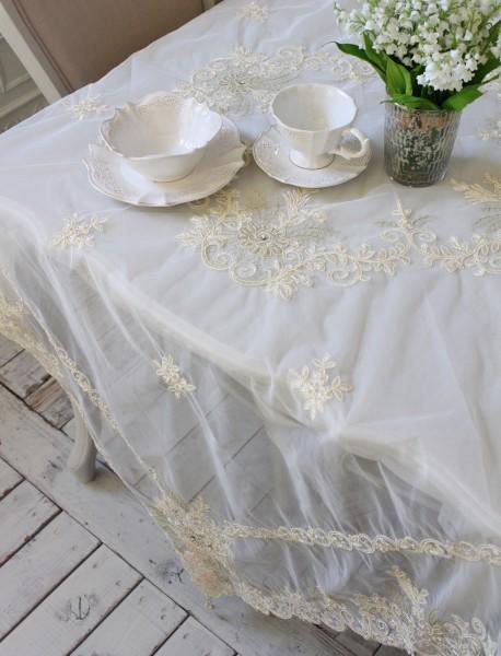ビーズ&レース テーブルクロス フローラルブーケ8780 トップクロス フレンチシャビー シャビーシック 布製 レース 刺繍 アンテ
