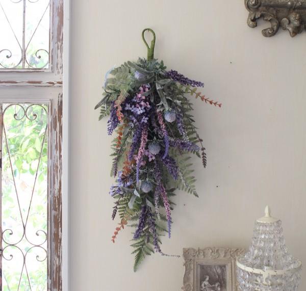 フラワーデコ・ラベンダー(8394) 造花 壁掛け ラベンダー スワッグ シルクフラワー アーティフィシャルフラワー ウォールデコ