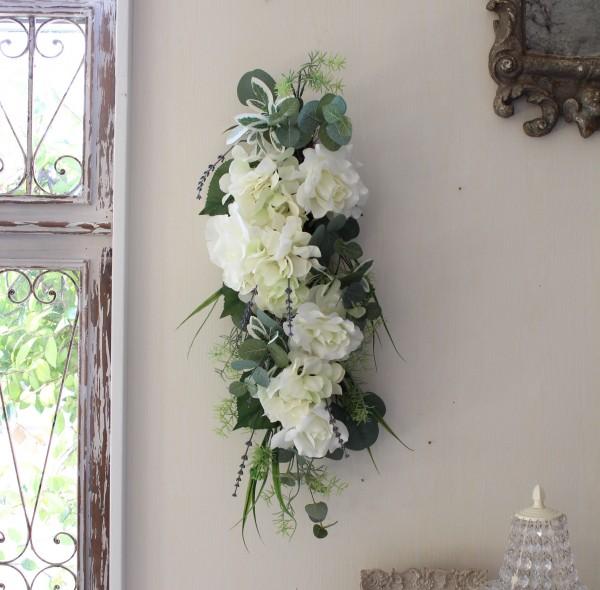フラワーデコ・ホワイトローズ&アジサイ(8397) 造花 壁掛け 薔薇 紫陽花 スワッグ シルクフラワー アーティフィシャルフラワ