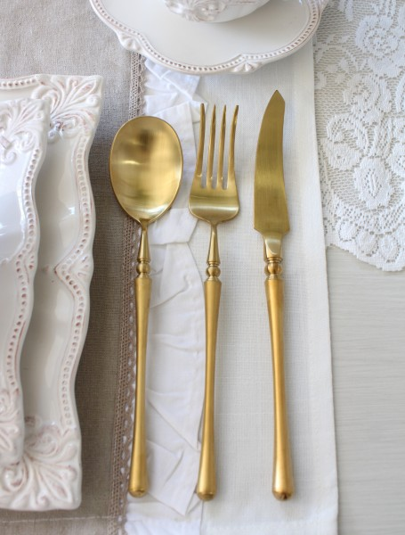 PARIS ディナーカトラリー ゴールド (ナイフ・フォーク・スプーン) ステンレス製 輸入食器 カトラリー おしゃれ ゴールド シ