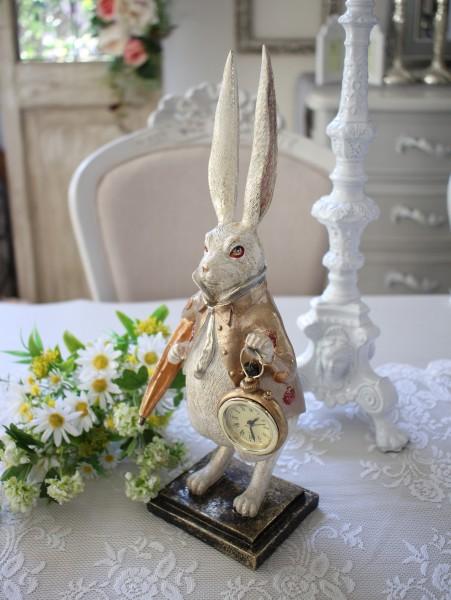パラソルラビットの置時計 8459 置物 オブジェ 不思議の国のアリス ウサギ  ディスプレイ シャビーシック フレンチカントリ