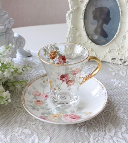 アンティーク風 フレンチ食器 フラワーシリーズ(ローズ1362) ガラスカップ&ソーサー フレンチ食器 フランス アンティーク調