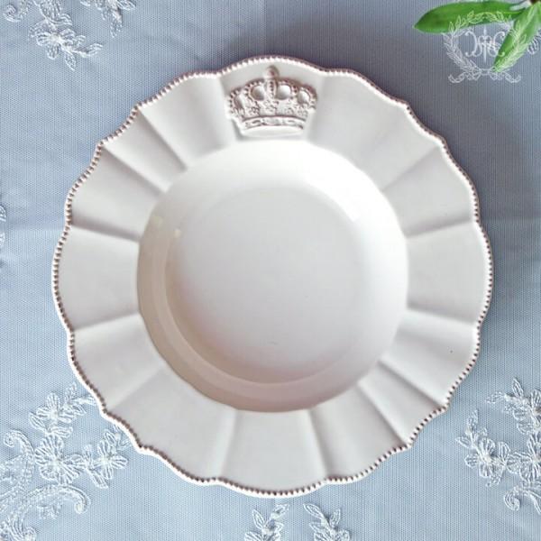 フレンチカントリーな王冠モチーフシリーズ  ロイヤルクラウン スーププレート スープ皿  パスタプレート パスタ皿 スーププレー