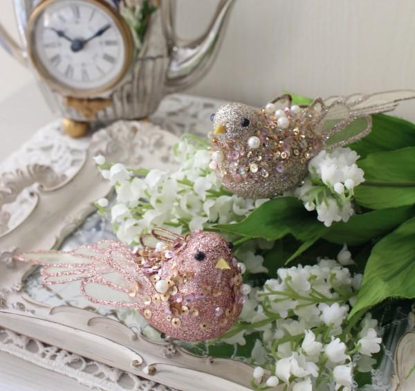 バードクリップ 2色セット(8589 ピンク ゴールド)小鳥 鳥 飾り 置物 オブジェ ヨーロピアン アンティーク風 アンティーク 雑貨