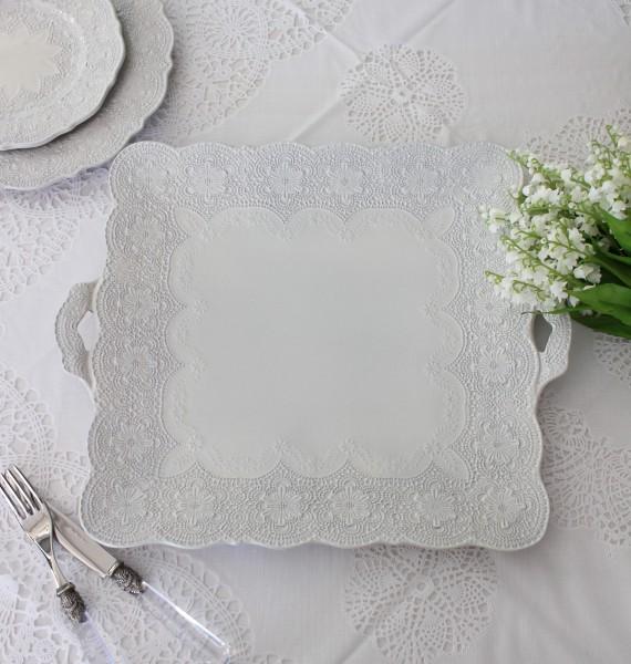 La Ceramica V.B.C ラ・セラミカ イタリア 持ち手付スクエアプレートL(018) 大皿 四角形 シャビーシック アンティーク風 洋食
