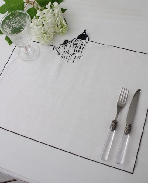 撥水リネン・ランチョンマット/ホテルリッツ・パリ (ホワイト×ブラック) イタリア製 プレースマット はっ水 テーブルコー