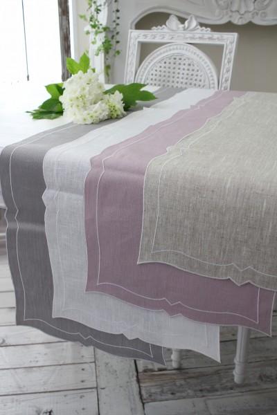 撥水リネン・テーブルランナー (ナチュラル、パウダーローズ、ホワイト、グレー) イタリア製 テーブルセンター 敷物 布製
