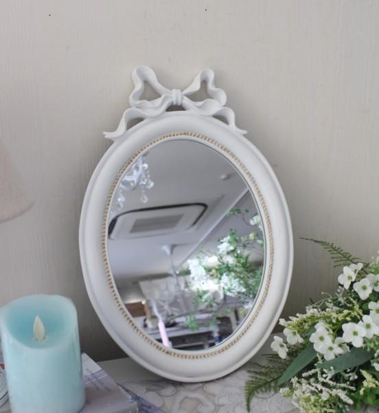 マチルドエム フランス リボンミラー (238) ホワイト 壁掛けミラー 鏡 可愛い マチルドM Mathilde M. シャビーシック アンティー