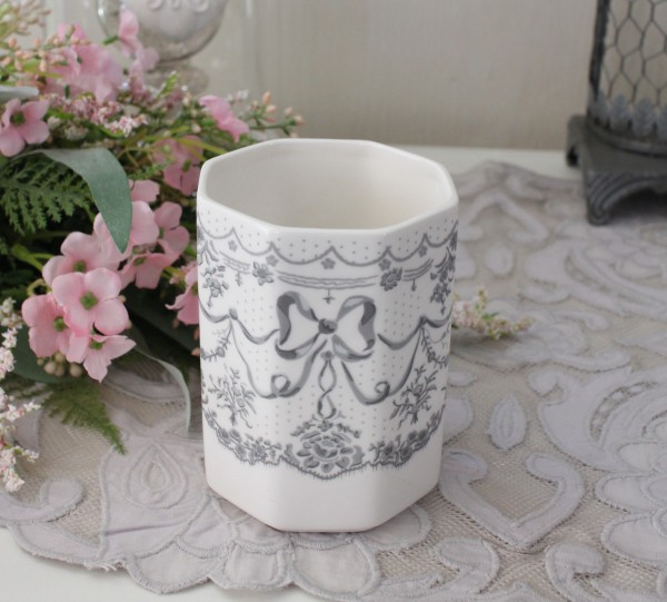 マチルドエム フランス 歯ブラシスタンド (リボン385) 陶器 サニタリー マチルドM Mathilde M. シャビーシック アンティーク風