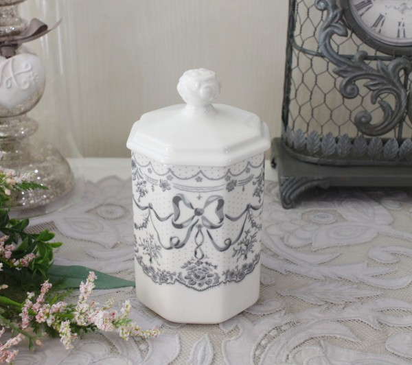 マチルドエム フランス キャニスター ボックス  (リボン387) 陶器 サニタリー マチルドM Mathilde M. シャビーシック アンティー