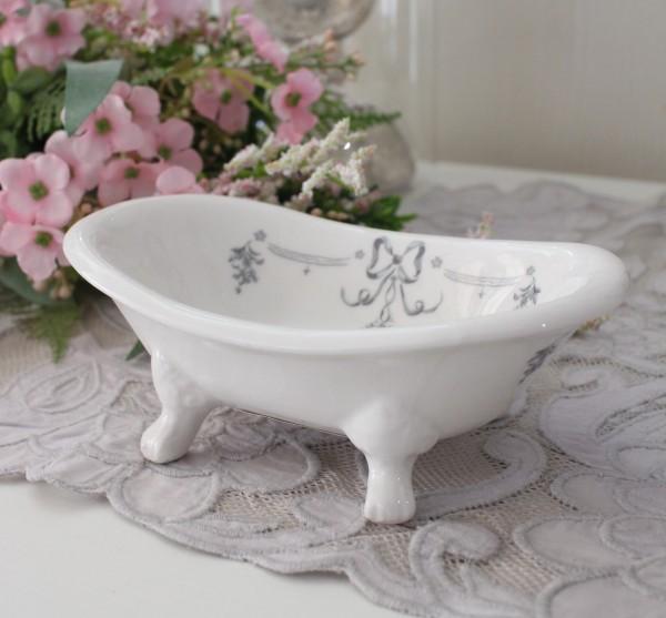 マチルドエム フランス 猫脚ソープディッシュ  (リボン389) ソープトレー 陶器 サニタリー マチルドM Mathilde M. シャビーシッ
