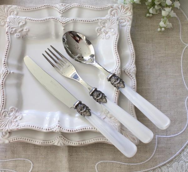 カトラリー エメ EME ナポレオン パールホワイト イタリア製 ハンドメイドの美しいカトラリー ディナーナイフ フォーク スプーン
