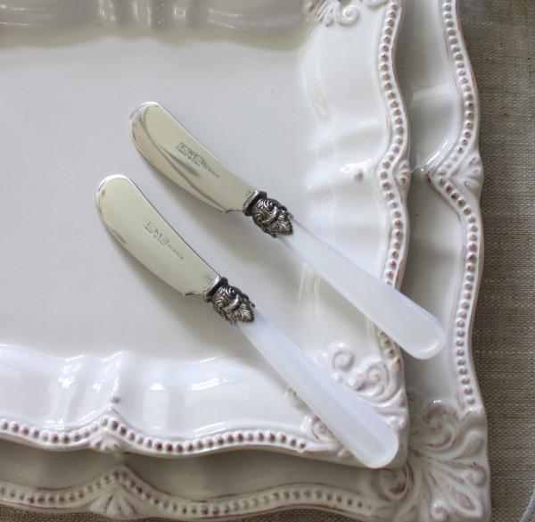 バターナイフ カトラリー エメ EME ナポレオン パールホワイト イタリア製 ハンドメイドの美しいカトラリー ケーキフォーク ティ